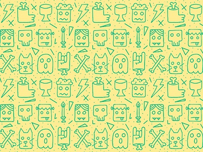 Monsters Pattern illustration lima-limon design drawing monsters pattern