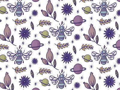 Fly Space flowers flower stars handmade space ultraviolet purple leafs flies planet fly pattern