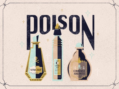 Poison fifties frame stars skull vintage bottle poison