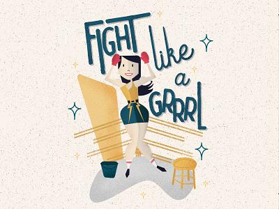Fight Like A Grrrl illustration boxing retro woman power feminism vintage grrrl ring fight