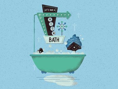 Take A Meow Bath retro bathroom vintage print digital clean blue animal character meow bath cat illustration