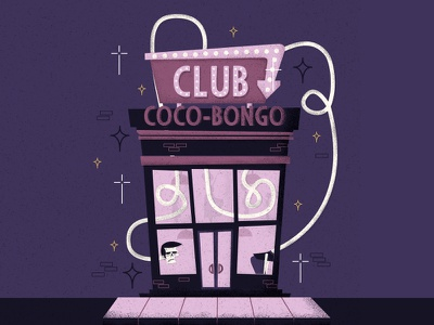 Coco-Bongo Club illustrator digital bright brightsign sign violet cocobongo club skull vector stars retro drawing vintage character illustration