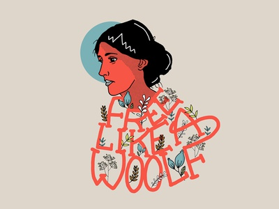 Free Like A Woolf digital flowers woman virginia woolf writter drawing character illustration