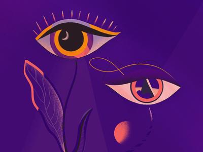 Eye for an Eye weird creature mystical purple plants eyes procreate art illustration digital art digital artwork