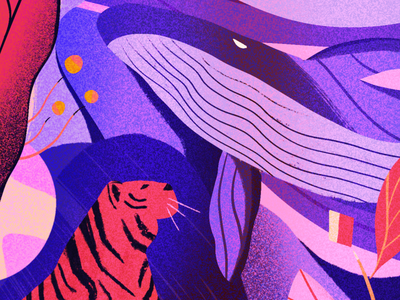 Biodiversity purple gradient plants whale tiger procreate art digital art biodiversity