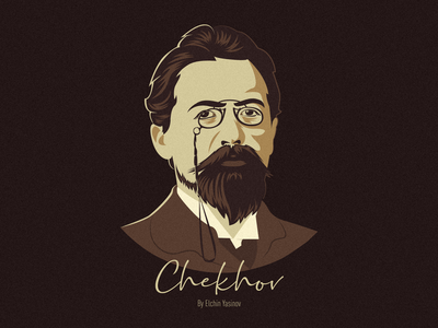 Anton Chekhov graphic artist art vector illustration design