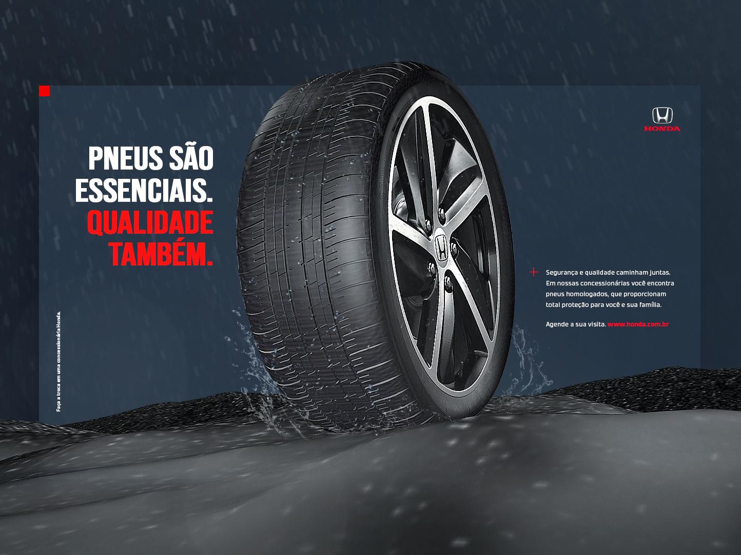 Honda Tires - Key Visual tires cinema 4d 3d abstract art advertising abstract web keyvisual branding typography minimal flat car design