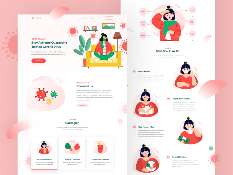 Corona Virus (Covid-19) Landing Page free vector corona update analytic figmadesign free download free ui kit freebie healthcare awareness virus coronarender corona render coronavirus uiux landing page homepage ui design ux design website website design