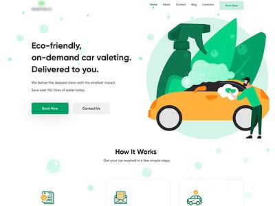 Car Wash Home Page landingpage design web homepage website website design illustration ux design ui design