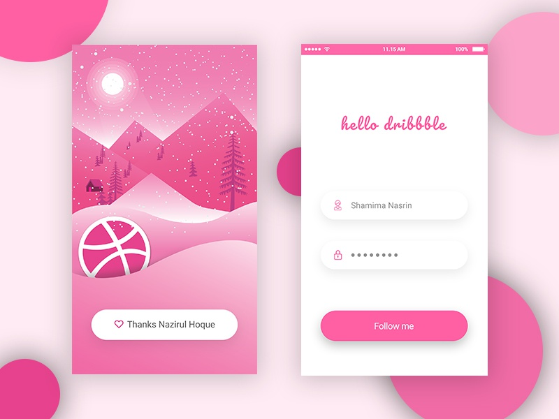 Hello Dribbble snow fall winter welcome shot log in app ui pink illustration first shot debut shot hello dribbble dribbble
