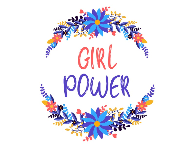 Girl Power - hand drawn illustration. floral equality gang sticker activist apparel campaign concept drawing girly hippie powerful rights strong feminist flower fashion quote power girl