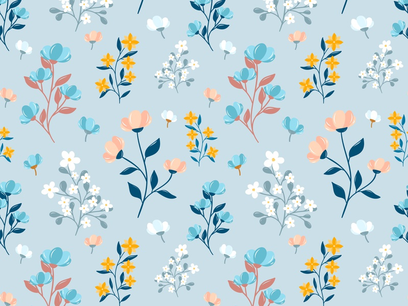 Floral seamless pattern. Ditsy print repeat vector blossom nature texture leaf garden illustration small spring seamless textile color cute summer wallpaper retro fashion floral flower