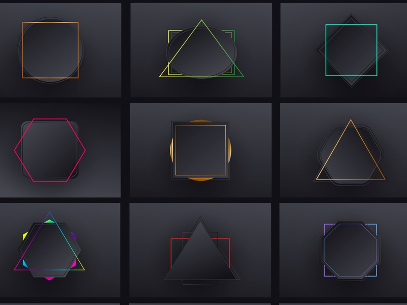Minimal geometric black gradient backgrounds set pattern web banner layout modern design abstract illustration circle triangle hexagon geometry square rectangle 3d black gradient geometric minimal background