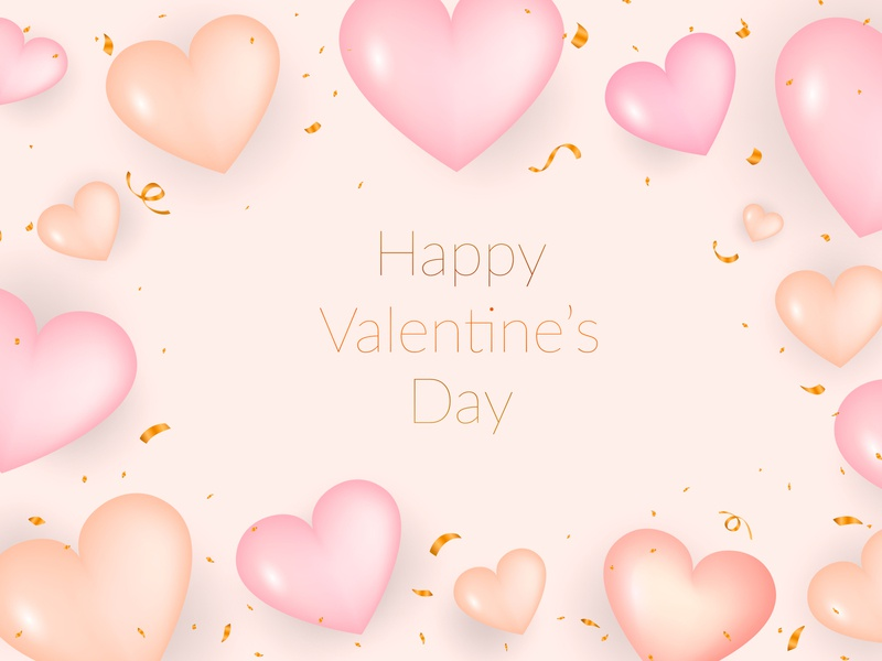 Realistic valentine's day background layout luxury modern romantic soft symbol view from above web wedding template white event love pink gold heart realistic valentine valentines day 3d