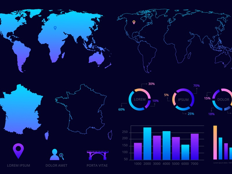 World map,  France map, charts and symbols earth symbol world map business arrow pin concept geography growth statistic pie colorful demographics visualization network location mark infographics tag