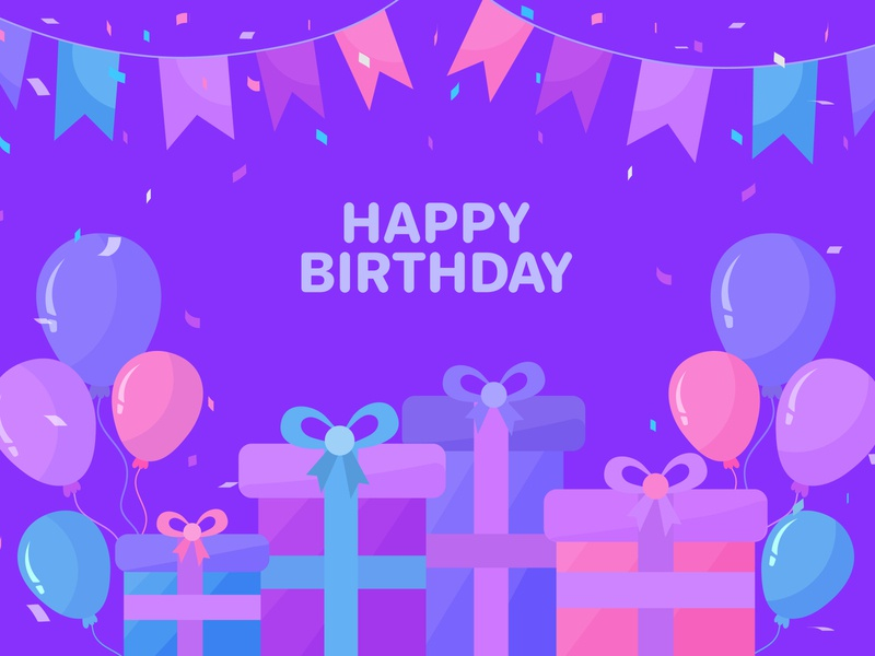 Happy birthday background with balloons and gifts confetti celebrate vector decoration balloon background festive card joy birth surprise flag congratulation present cake cartoon creative happy birthday happy birthday background birthday background