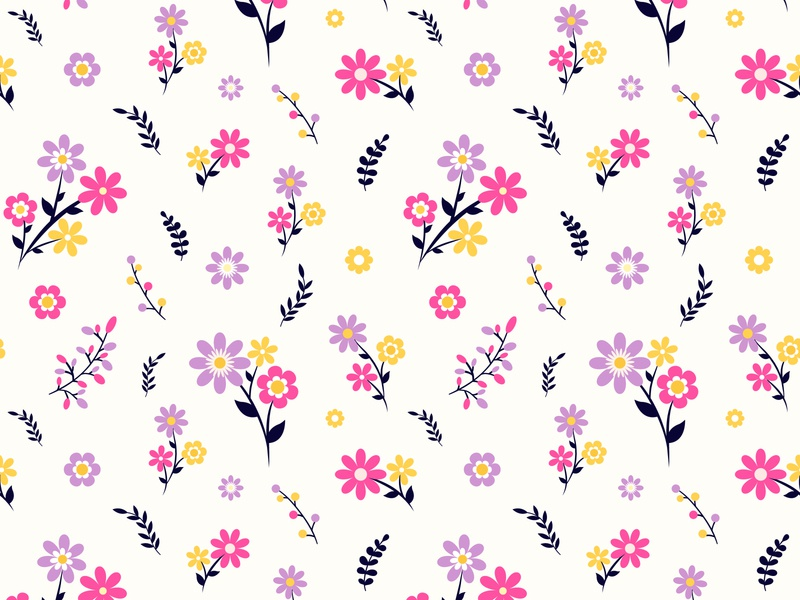 Floral seamless pattern with small flowers and leaves plant fashion print pink garden repeat elegance feminine flora bloom decor vector graphic art blossom backdrop beauty textile abstract floral pattern