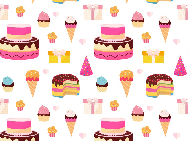 Happy birthday colorful seamless pattern confetti wallpaper ribbon card party design isolated vector decoration celebration illustration colorful fun background pattern seamless happy birthday card happy birthday birthday cake