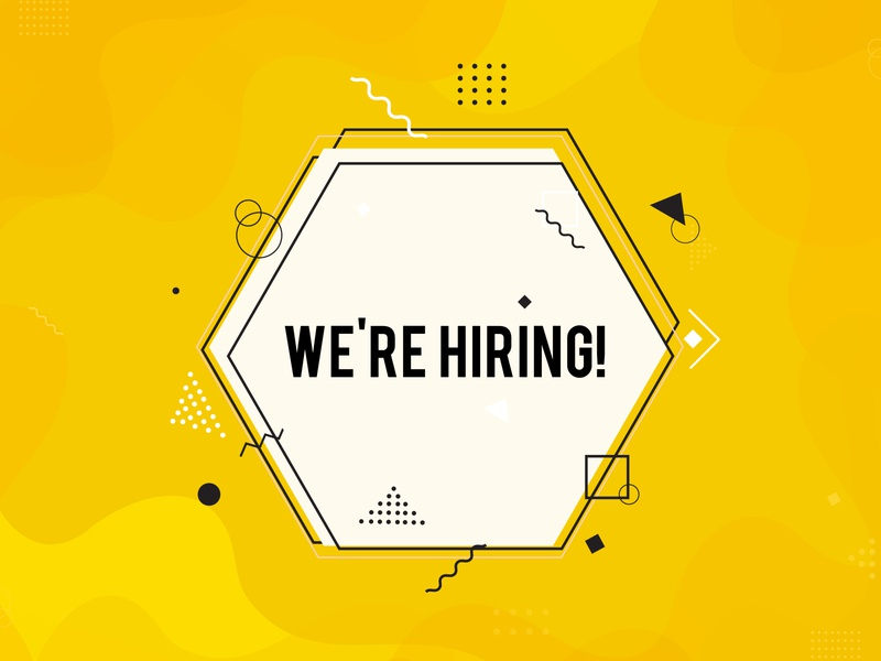 We're hiring symbol,  Business recruiting concept. career creative employee employer employment hire interview job opportunity recruit recruiting recruitment sign team vacancy vacant wanted work worker yellow