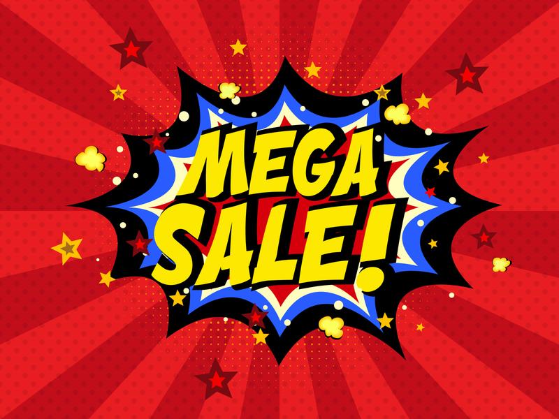 Comic book mega sale background comics bomb discount design illustration pop book art promotion background comic sale label word text splash blast red yellow blue