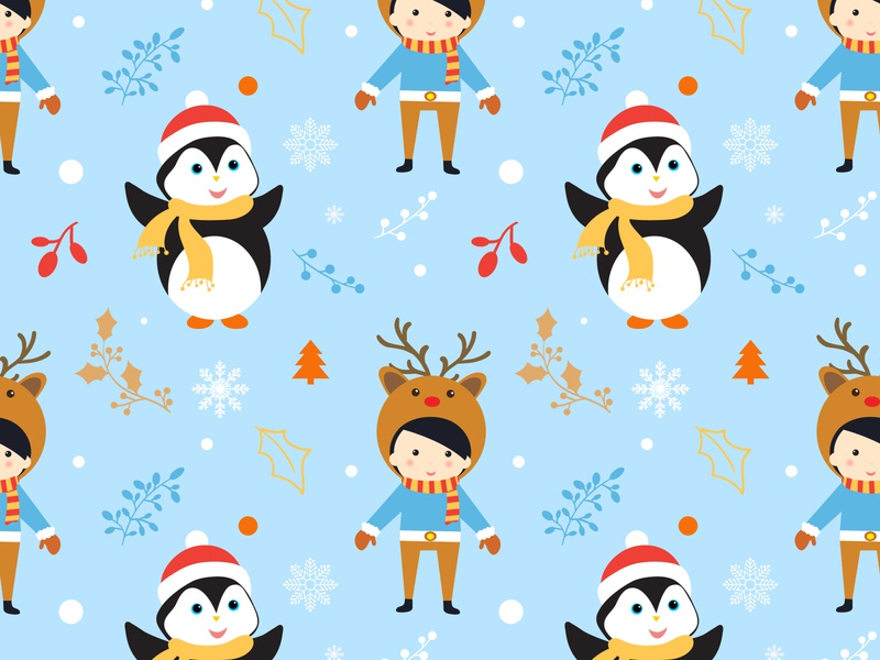 Merry Christmas pattern with cute characters and decorations. year santa vector decoration character illustration cartoon winter background merry cute pattern christmas owl bird santa claus snowman boy girl children