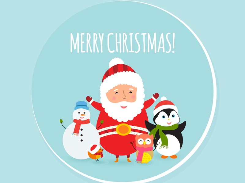 Merry Christmas greeting card with cute xmas characters. xmas merry illustration new year set vector cute greeting card christmas snowflake owl bird penguin santa claus snowman girl children december