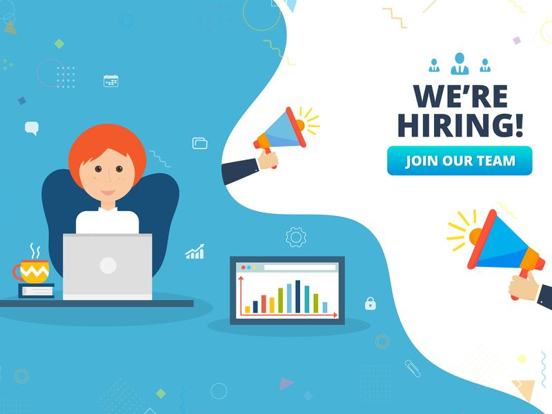 We're hiring concept employee were hiring candidate job flat vector design illustration recruitment hiring