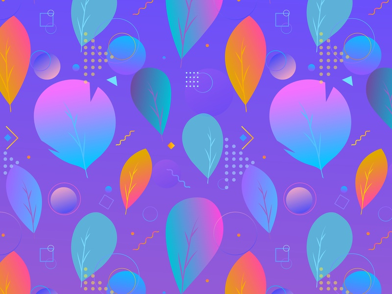 Colorful abstract modern leaves, seamless pattern colorful leaves leaves collage seamless hand illustration modern design leaf art geometric vector background pattern abstract gradient colorful