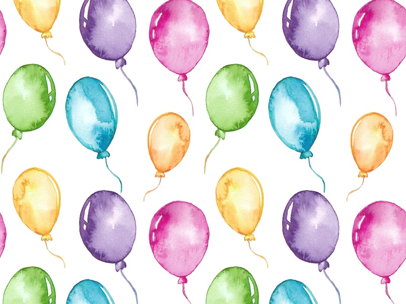 Watercolor colorful balloons seamless pattern color design decoration holiday white gift air birthday background illustration colorful seamless balloons pattern balloon watercolor surprise blue green watercolor balloon