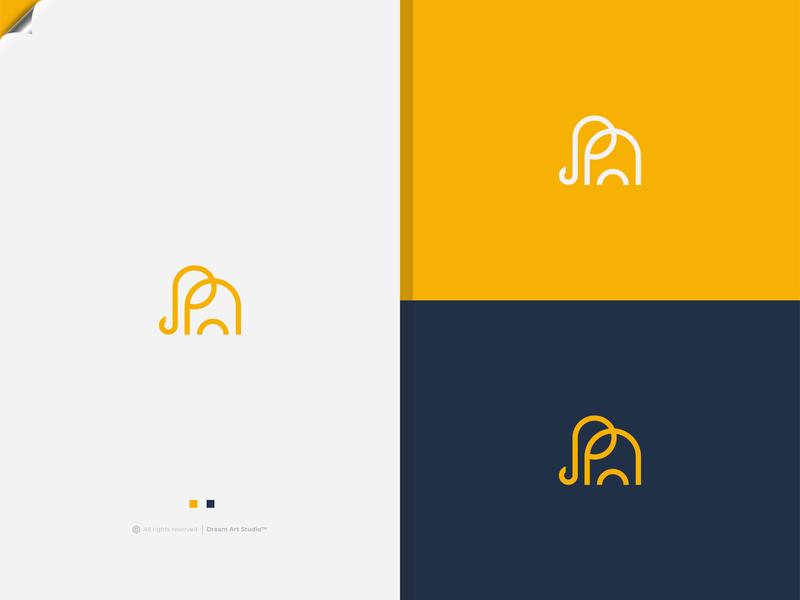 Minimal elephant logo colorful orange logo yellow logo graphic design eletech elephant logo line art logo minimalist logo mobile shop logo tech logo flat logo simple logo logo design logos logo