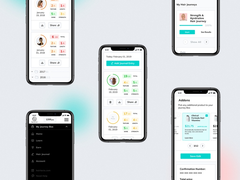 Customer portal mobile vitamins makeup hair beauty ux ui subscription mvp web app mobile dashboad