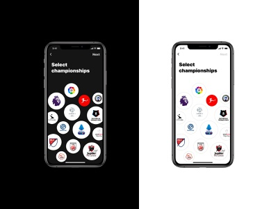Select your preference ui ux onboarding football soccer dark mode dashboad app mobile