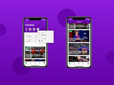Home page socialmedia football soccer human interface material design android ios smart feed