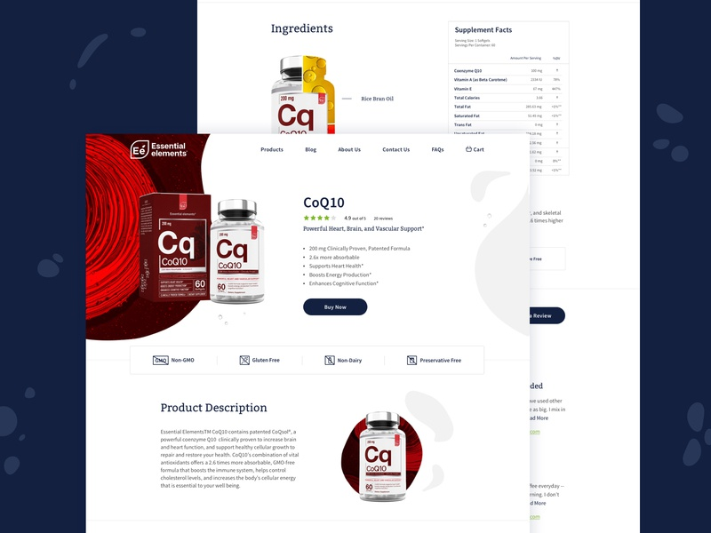Essential Elements Product Page branding website ui style logo brand design art direction color vitamins product organic bottle package