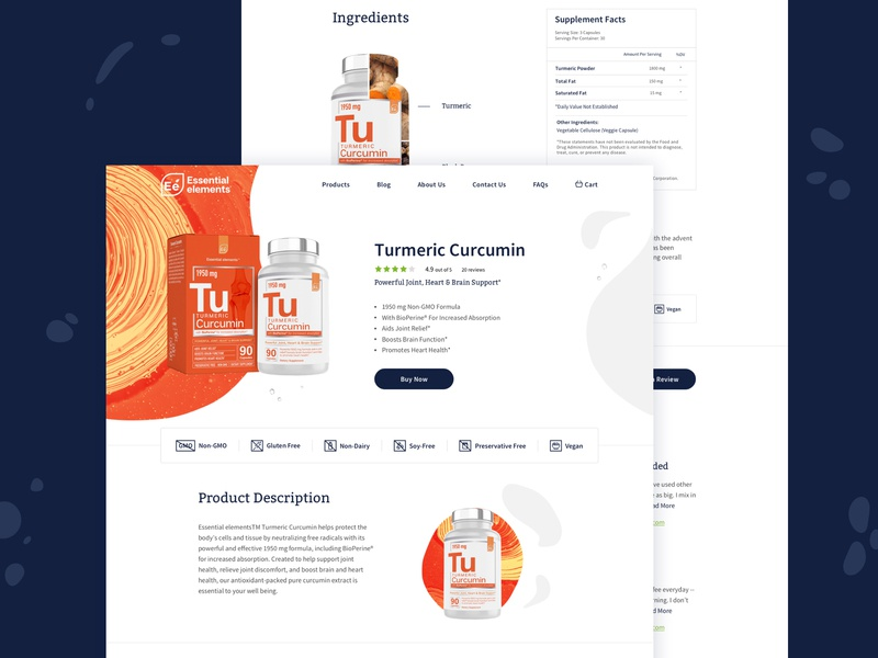 Essential Elements Product Page package bottle organic product vitamins color art direction design brand logo style ui website branding