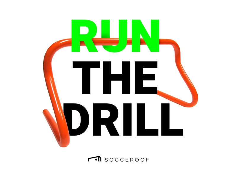 "Socceroof ""Run the Drill"" illustraion workout run sport soccer visual brand color"