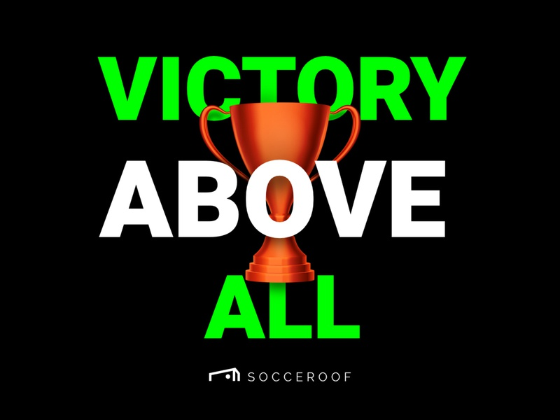 "Socceroof ""Victory Above All"" color brand visual soccer sport run workout illustraion"