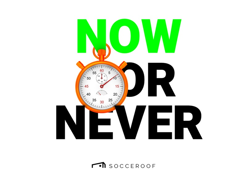 "Socceroof ""Now or Never"" color brand visual soccer sport run workout illustraion"