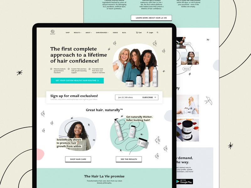 Home page landing page health hair vitamins brand art direction ui ux design branding website