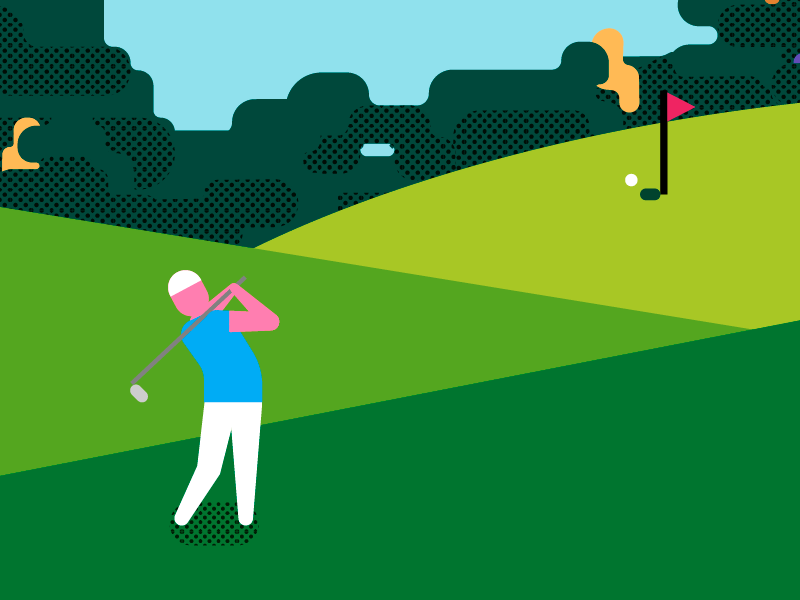 Golf Swing geomteric golf minimalism illustration vector