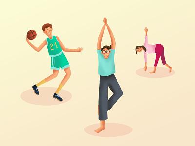Get physically active yoga basketball exercise 2d art procreate illustrator design draw drawing digital art illustration