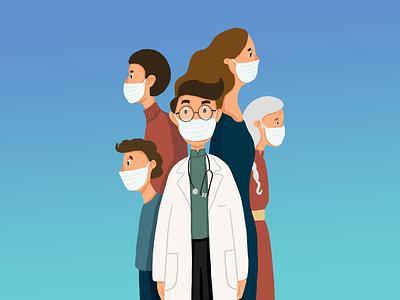Wear a mask doctor people mask covid19 cough 2d art procreate illustrator design draw drawing digital art illustration