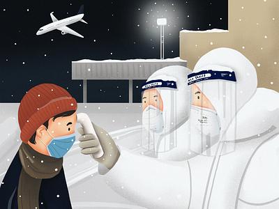 Avoid traveling abroad. airport doctor flight covid covid19 ipadpro mongolia 2d 2d art procreate illustrator design draw drawing digital art illustration