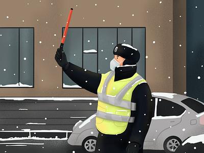 Traffic Police ipadpro mongolia 2d 2d art procreate illustrator design draw drawing digital art illustration