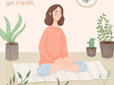 Meditation stay at home plants stay home covid meditation 2d 2d art procreate illustrator draw drawing digital art illustration