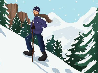 Hiking mountain hiking illustrator procreate 2d art design draw drawing digital art illustration