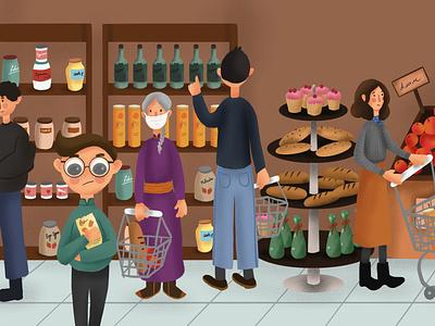 Wear a mask grocery shopping kid ipadpro illustrator 2d art design procreate draw drawing digital art illustration