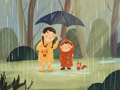 Love sharing sister rainforest chipmunk rain kids ipadpro 2d illustrator 2d art procreate design draw drawing digital art illustration