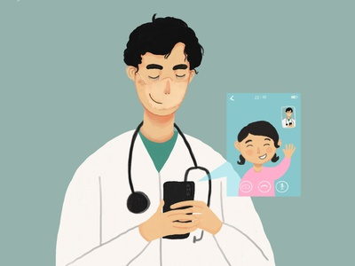 I stayed at work for you daughter videocall hospital stayhome doctor covid-19 covid19 covid ipadpro illustrator 2d art procreate design draw drawing digital art illustration