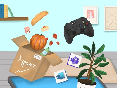 Startups during pandemic home xbox game quarantine teams word delivery pandemic ipadpro 2d illustrator 2d art procreate design draw drawing digital art illustration